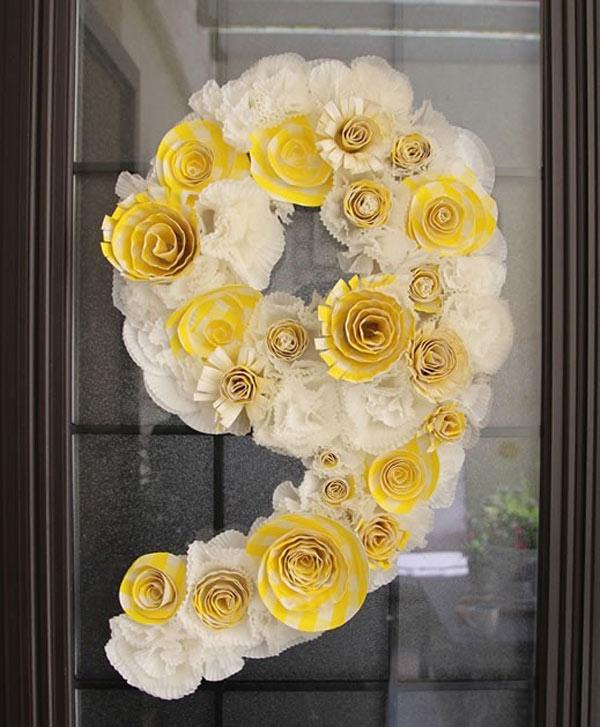 Цветы на цифру из салфеток