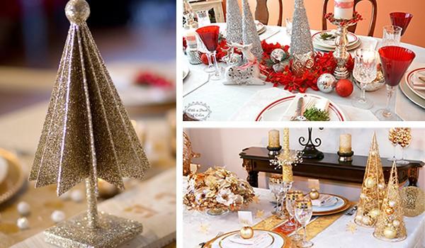 елки из бумаги - украшение новогоднего стола