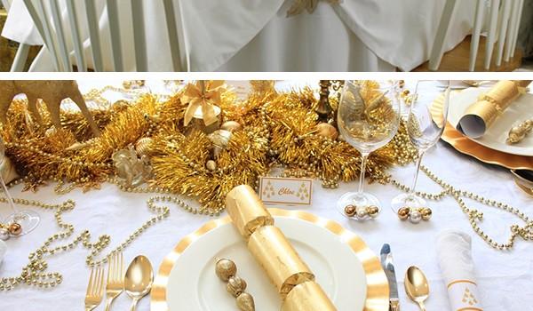 золото украшение новогоднего стола