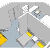 Вопрос: Здравствуйте!Подскажите, как спланировать нестандартную комнату на даче, на мансардном этаже, площадью около 24 кв м (596х390 см). Для двух мальчиков, по имени Максим и Ваня, возрастомпримерно 2 и 4...
