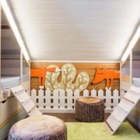 Интерьер детской комнаты на мансарде – всегда немножко вызов дизайнеру. Но непростая форма пространства и ограниченные возможности его преобразования – не препятствие для воплощения креативных идей. Лесная детская от Марии...