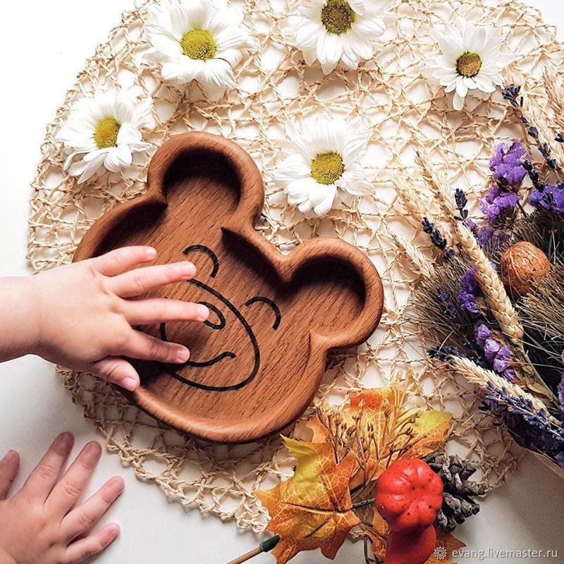 """Детская тарелка """"Мишка"""" (дуб, льняное масло)"""