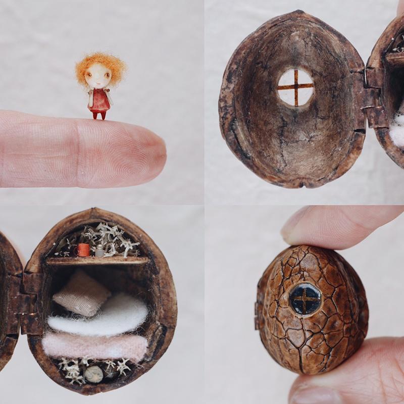 Домик для куклы из ореховой скорлупы от мастера Веры Тороховой