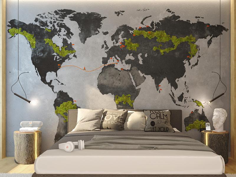 Географическая карта на стене - центральный элемент интерьера