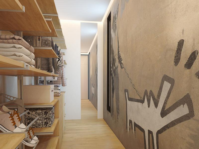 Роспись под граффити на стене в гардеробной