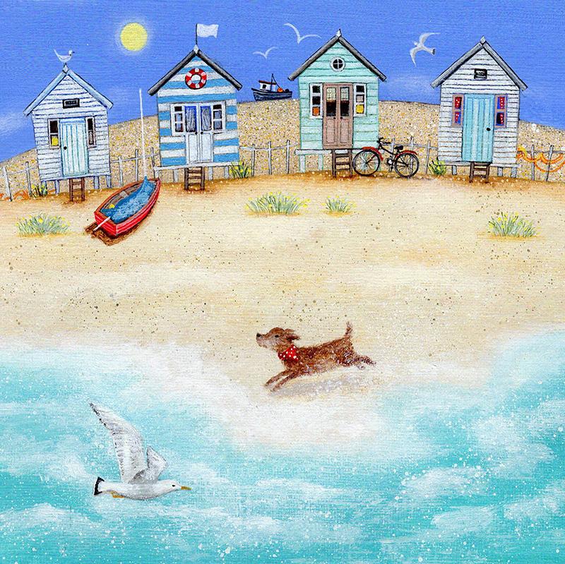 Пляжные домики и бегущая собака