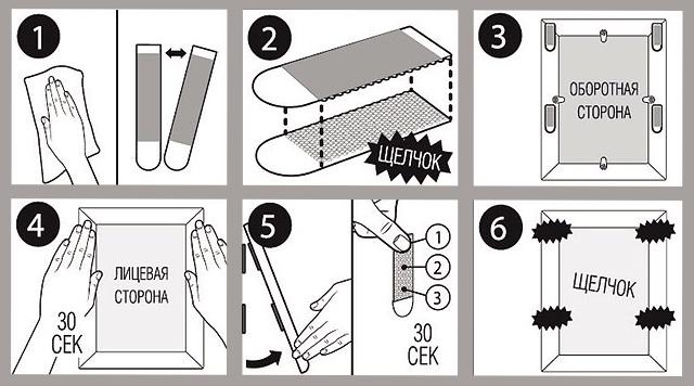 Схема крепления постеров с помощью липучек (источник: сайт poryadok-blog.ru)