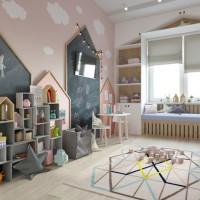Это комната спроектирована дизайнером Анастасией Гвоздь для двух маленьких девочек 1 и 3 года. По желанию мамы, дизайнер постаралась создатьатмосферу беззаботного детства, использовав интересные детали и элементы ручной работы. До...